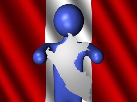 peru map: abstract person holding Peru map sign with their flag illustration Stock Photo