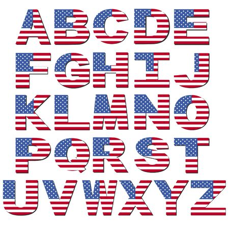 American flag font isolated on white illustration illustration