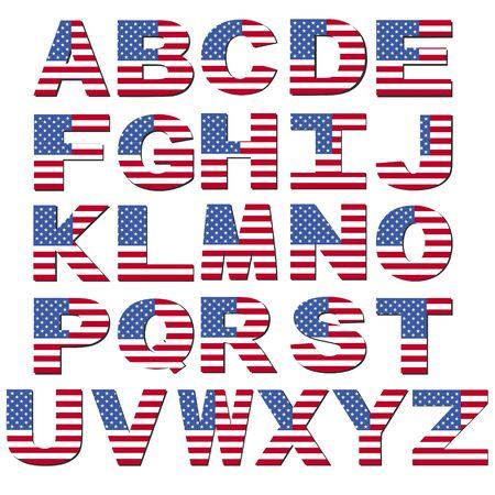 American flag font isolated on white illustration Stock Photo