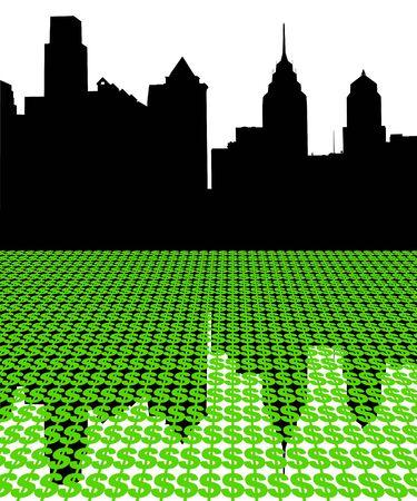 philadelphia: Philadelphia skyline with dollars illustration