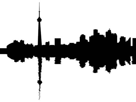 toronto: Toronto skyline reflected with ripples illustration