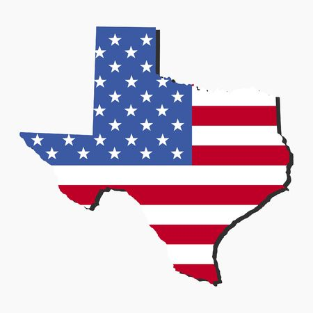 texas: Map of the State of Texas and American flag illustration Stock Photo