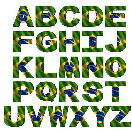 Brazil flag font isolated on white illustration