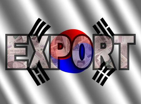 south korean won: Export Text with Won and South Korean flag illustration
