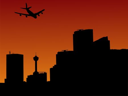 arriving: plane arriving in Calgary at sunset illustration