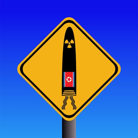nuclear missile warning sign with north Korean flag illustration Stock Illustration - 5153472
