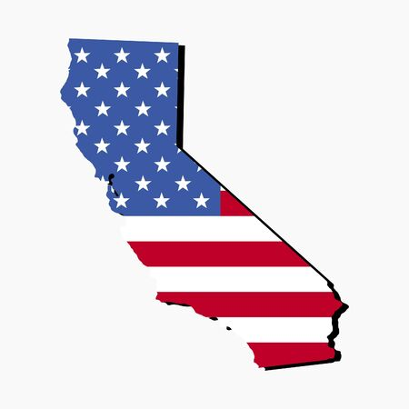 Map of the State of California and American flag illustration illustration
