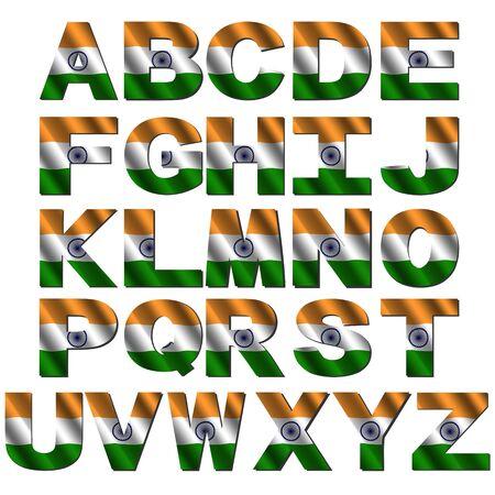 India flag font isolated on white illustration