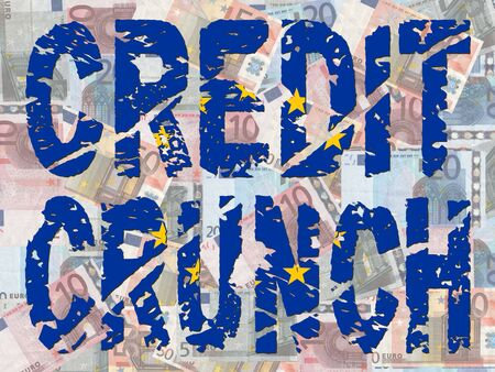 credit crunch: grunge Credit Crunch text with EU flag and euros illustration Stock Photo