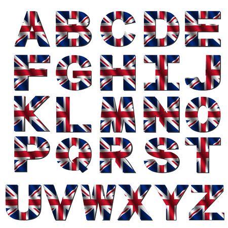 Briten: British flag Schrift auf wei�em isolierte Darstellung Lizenzfreie Bilder
