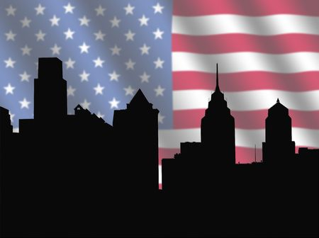 philadelphia: Philadelphia skyline against blurred American Flag illustration