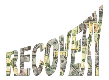 recovery: Recovery text with American dollars currency illustration