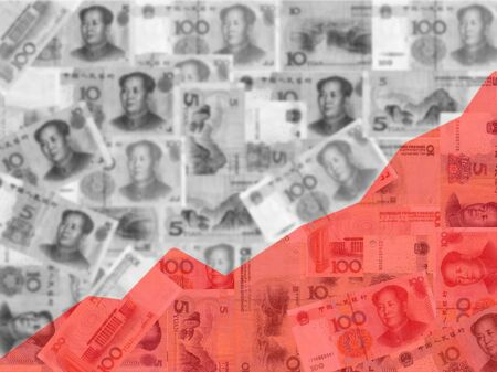 yuan: red graph on chinese yuan illustration