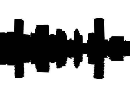 Baltimore skyline reflected with ripples illustration illustration