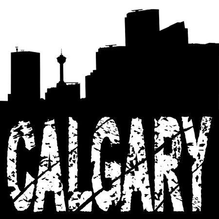 calgary: Calgary skyline with grunge text illustration Stock Photo