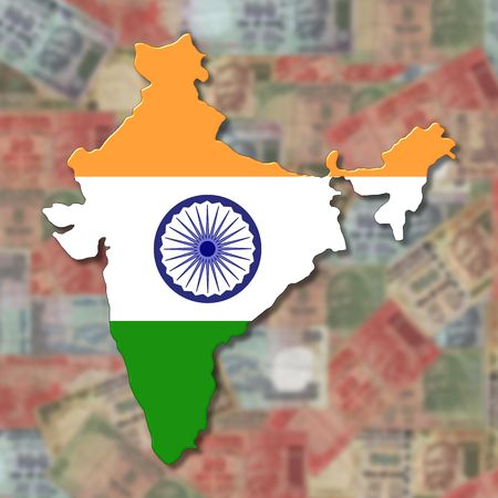 rupees: India Map flag on blurred euro Rupees illustration