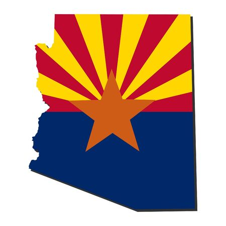 Map and flag of the State of Arizona Stock Photo