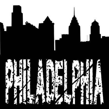 grunge Philadelphia text with skyline illustration illustration