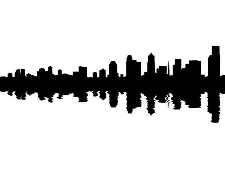 seattle skyline: Seattle skyline reflected with ripples illustration Stock Photo