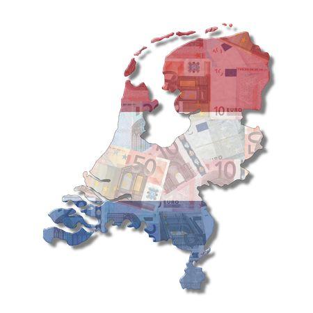 Netherlands Map flag with euro notes illustration illustration