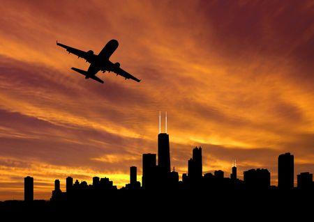 plane departing Chicago at sunset illustration illustration