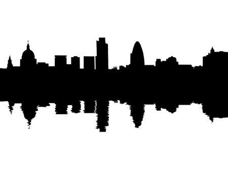 london cityscape: London skyline reflected with ripples illustration Stock Photo