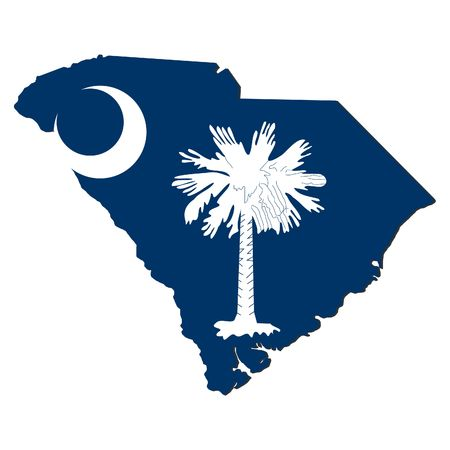 Map and flag of the State of South Carolina Stock Photo