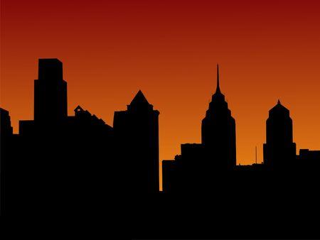 philadelphia: Philadelphia skyline at sunset illustration
