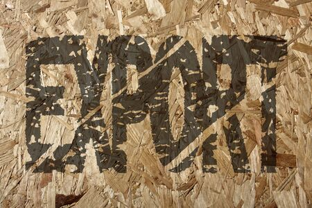chipboard: grunge export text on chipboard illustration