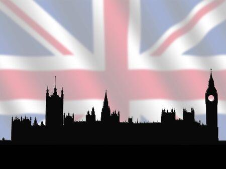 houses of parliament: Houses of Parliament against blurred British Flag illustration Stock Photo