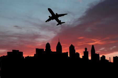 departing: plane departing Philadelphia at sunset illustration