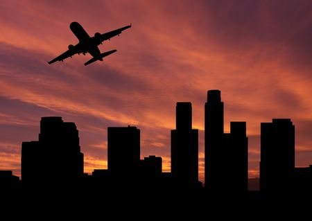 departing: plane departing Los Angeles at sunset illustration