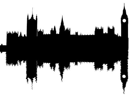 Houses of Parliament reflected with ripples illustration illustration
