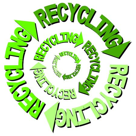 curved arrows: Recycling text curved arrows illustration Stock Photo