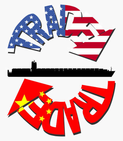 American and Chinese trade with flags and container ship Stock Photo - 5244701