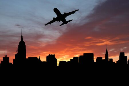 plane departing Midtown Manhattan at sunset illustration illustration