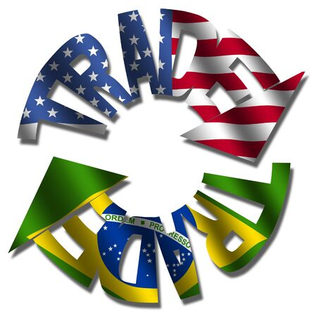 Trade text arrows with American and Brazilian flags illustration Reklamní fotografie