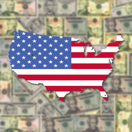 USA Map flag on blurred American dollars illustration illustration