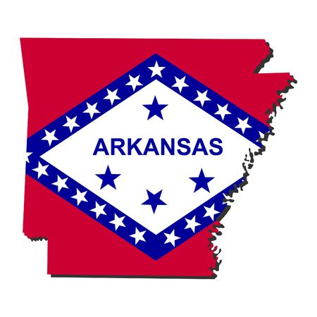 Map and flag of the State of Arkansas photo
