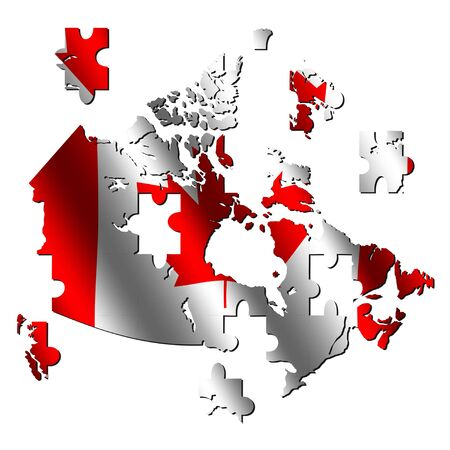Canada map rippled flag jigsaw with shadow illustration illustration