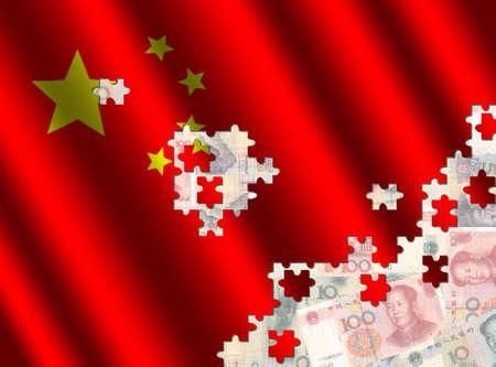 yuan: Chinese flag jigsaw over Yuan illustration Stock Photo