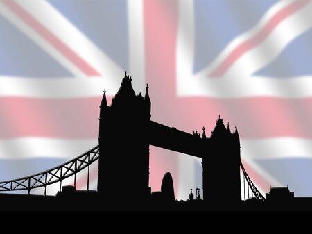 Tower Bridge London against blurred British Flag illustration illustration