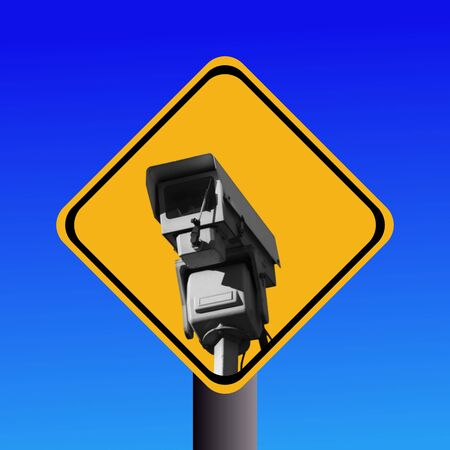 warning cctv camera sign on blue illustration Stock Illustration - 5260246