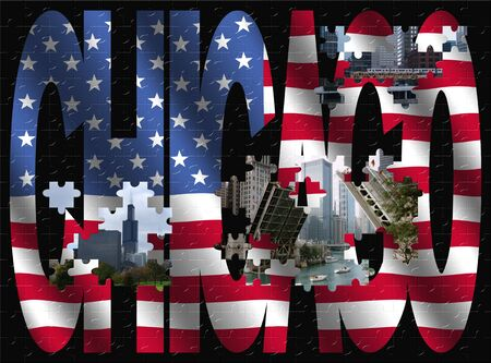 sears: Chicago flag text jigsaw with Michigan Avenue bridge