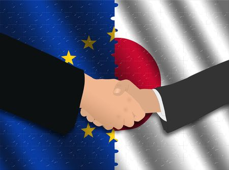 Handshake over EU and Japanese flags with jigsaw effect photo