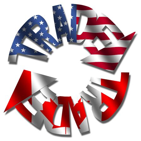 Trade text arrows with American and Canadian flags illustration