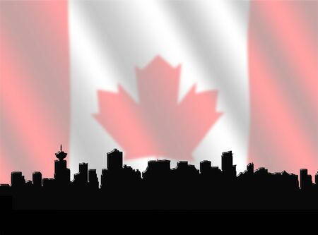 Vancouver skyline against blurred Canadian Flag illustration illustration