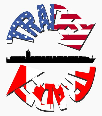 American And Canadian trade with container ship and flag arrows Stock Photo - 5268410