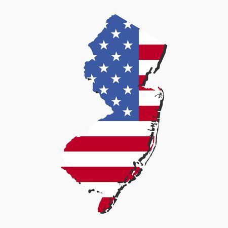 アメリカの国旗のイラストがニュージャージー州の地図