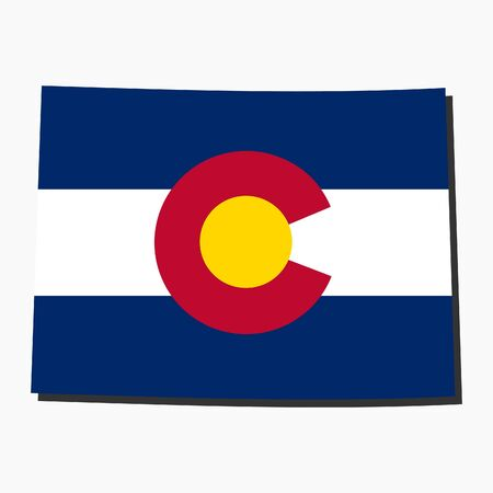 colorado flag: Map and flag of the State of Colorado